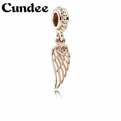 Passt Europa Armbänder Rose Gold Farbe Engel Flügel Charme Perlen