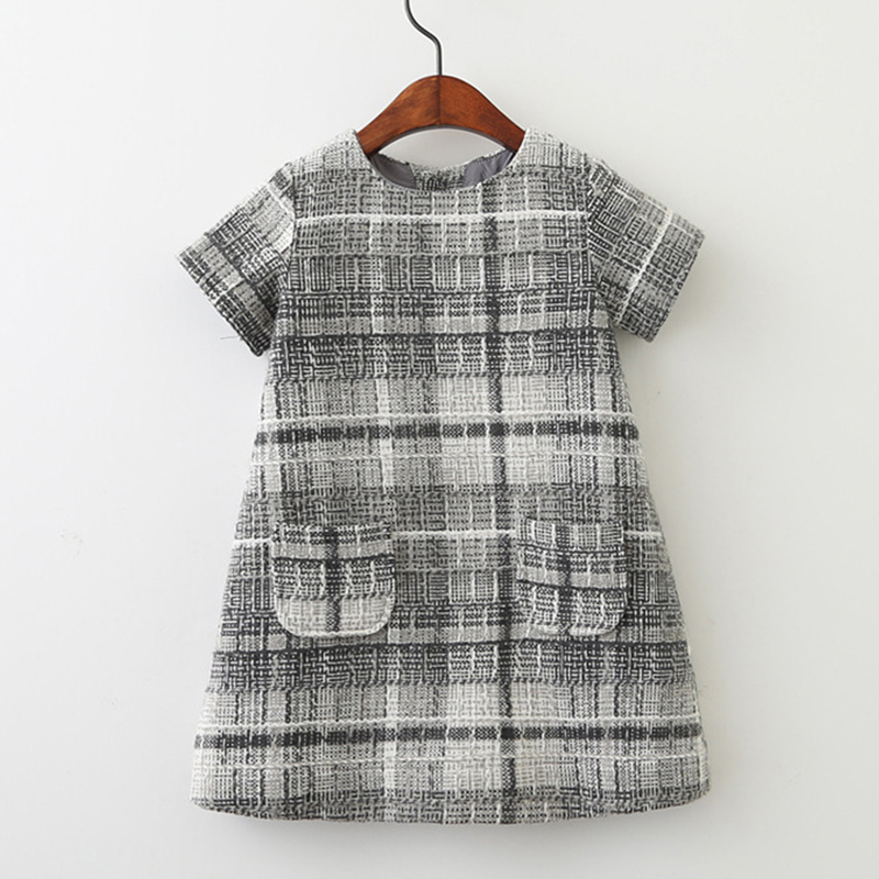Girls Wool Dress Autumn 2017 Brand Princess Dress with Pocket Plaid Kids Dresses for Girls Clothes Baby Christmas Dress Children pocket patched plaid curved hem shirt dress