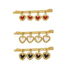 Enamel Heart Pendant Hairpin Women Girl Hair Clip Barrettes Hair Fashion Jewelry