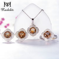 Kuololit Zultanite Gemstone Jewelry Set for Women Solid 925 Sterling Silver Ring Earrings Necklaces Color Change Stone for Women