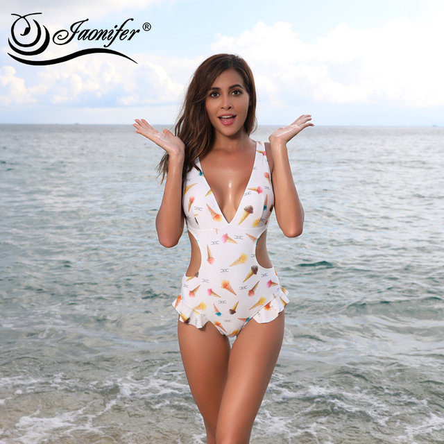 bc309a8fb2a9b One Piece Ruffle Swimsuit Women Sexy Ice Cream Print Swimwear Women s  Hollow Backless Swimming Bathing Suit