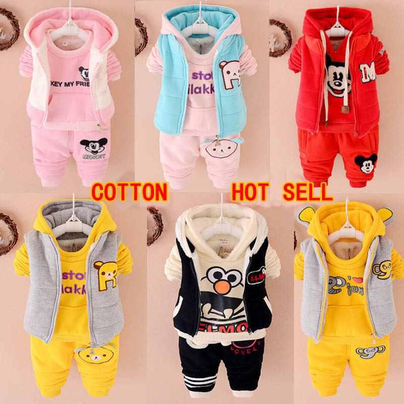 2015 New fashion cotton children boy girl winter clothes sets kid Sports warm Plus thick velvet three-piece brand children suits
