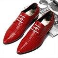 Estilo británico de cuero Genuino Oxford zapatos de Los Hombres de Moda Pisos Punta estrecha zapatos de Vestir de Negocios Mocasines Casuales 022