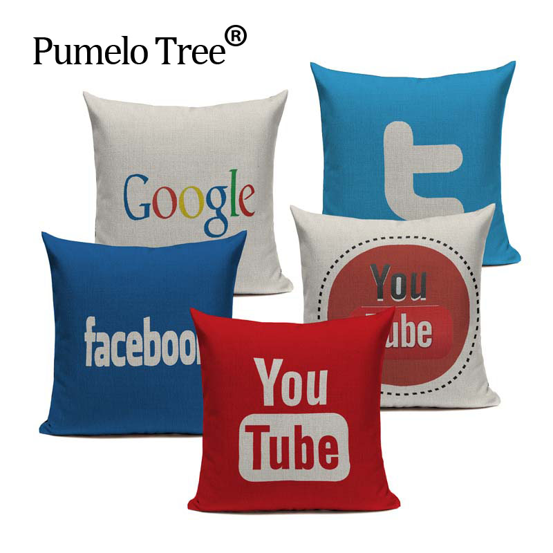 Decorative throw pillows logo for youtube facebook twitter - Fundas cojines sofa ...