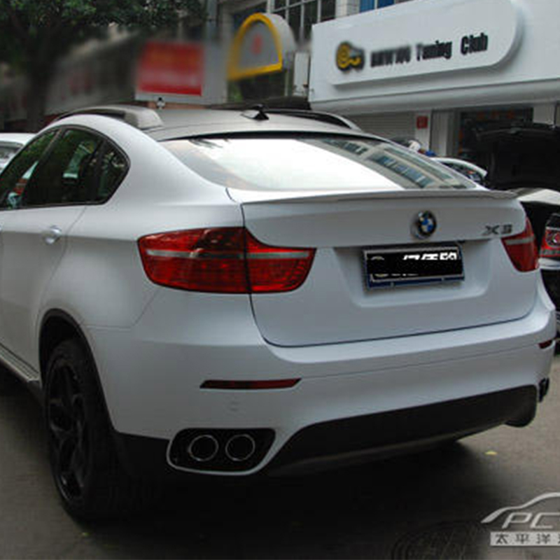 For BMW X6 E71 Modified Perform Style Fiberglass Primer Rear Luggage Compartment Spoiler Car Wing 2008~2013 carbon fiber car rear bumper extension lip spoiler diffuser for bmw x6 e71 e72 2008 2014 xdrive 35i 50i black frp