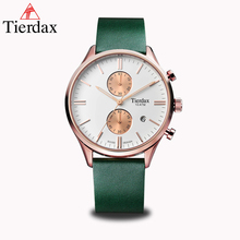 Tierdax Quartz Wrist Watch Men Clock Male Calendar Chronograph Relogio Masculino Genuine Leather Watchband 100M Waterproof