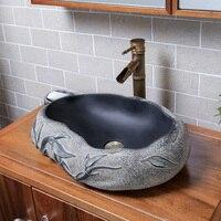 Fregadero de piedra de imitación china, baño creativo en forma de arte sobre lavabo de encimera, mini lavabo pequeño, lw01016437