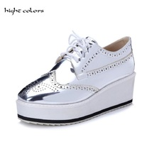 Big Size 32 48 Casual Shoes 2017 Woman Silver Black Platform Women Pumps British Style Sequined