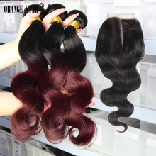 8A burgundy peruvian virgin hair body wave with closure ombre peruvian hair with closure ombre peruvian body wave with closure