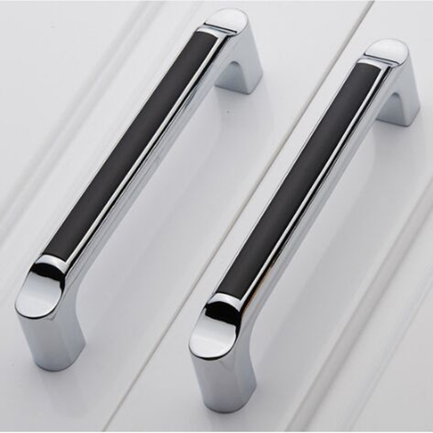 128mm modern simple fashion furniture handles silver black kitchen cabinet cupboard door handles champagne chrome drawer