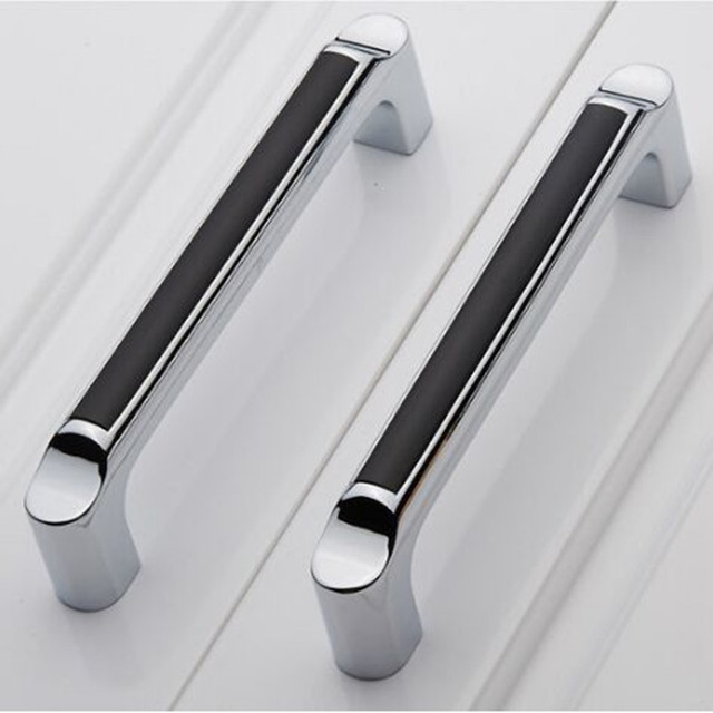 Amazing 128mm Modern Simple Fashion Furniture Handles Silver Black Kitchen Cabinet Cupboard  Door Handles Champagne Chrome Drawer