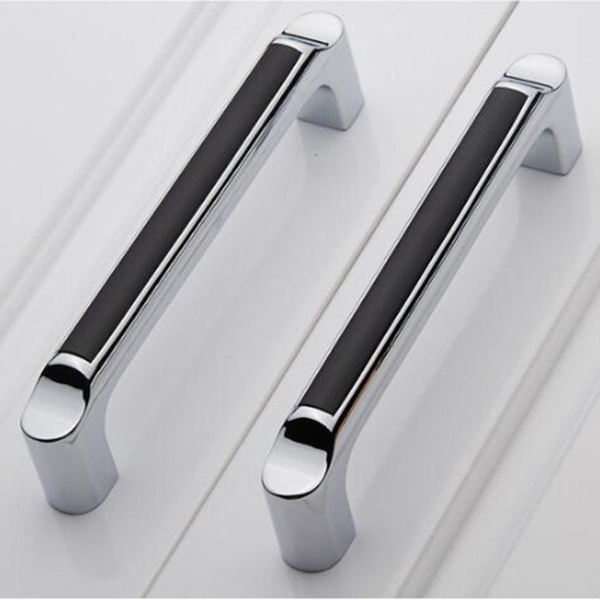 128mm silver white kitchen cabinet handle chrome dresser Black knobs on white cabinets