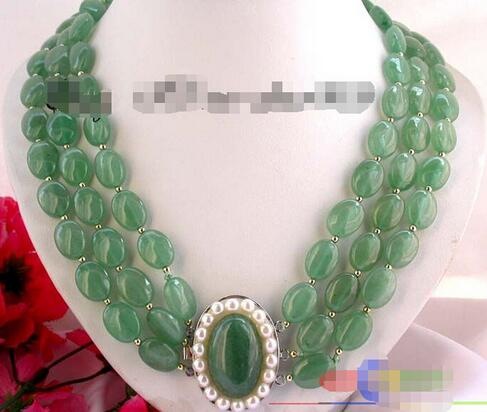 S5 3 sturands green oval natural stone necklace clasp ^^^ @ ^ noble style fine jewe Free Shipping