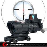 Greenbase Tactical Riflescopes Hunting 4X32 ACOG Red Optical Fiber Air Gun Fiber Rifle Scope With RMR
