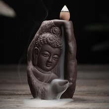 Creative Ceramic Incense Burner Smoke Backflow Censers Incense Coil Censer Buddha with Supplies+10 Incense Cones