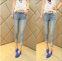 2015 новый Корейский моды модный тонкий кружева брюки женские брюки джинсы девять футов