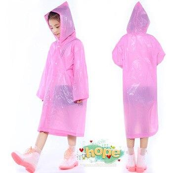 200pcs Kids Hooded Transparent Jacket Raincoats Rain Coat Poncho Raincoat Cover Long Girl Boy rainwear