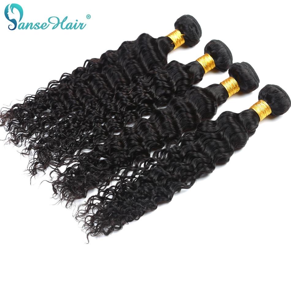 Panse Hair Deep Wave 4 Bundles Per Lot Malaysian Human Hair Weaving - Mänskligt hår (svart) - Foto 1