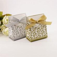 Neue 100 Stücke Kissen Pralinenschachtel Papier Boxen Geschenk Bänder für Gäste Hochzeit Favorisiert Geschenke-boxen Party Weihnachten Hochzeit Decoration.7z