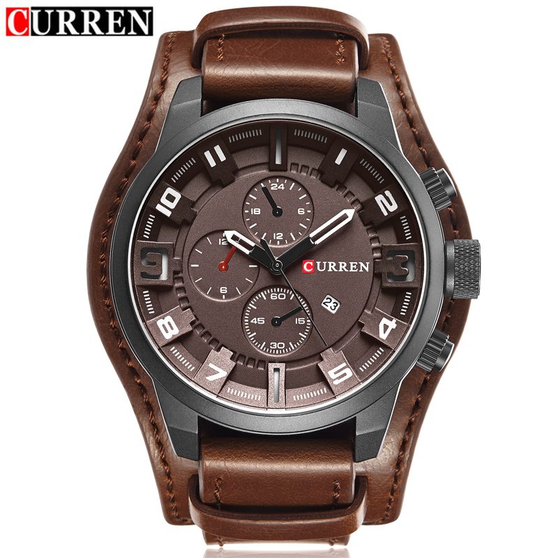 2017 Curren Men's Casual Sport Quartz Watch Mens Watches Top Brand Luxury Quartz-Watch Leather Military Watch Wrist Male Clock curren top brand luxury mens watch men watches male casual quartz wristwatch leather military waterproof clocks sport clock 8225