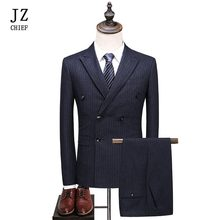 JZ CHIEF Men double breasted Overcoat Striped Suit Jackets Mens 3 Piece Slim Fit Suit Wedding Suits With Pants And Vest Buiness(China)