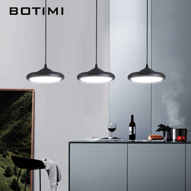 BOTIMI pendentif LED moderne lumières avec abat-jour en métal pour salle à manger blanc Triple lampe à Suspension de cuisine noir luminaire