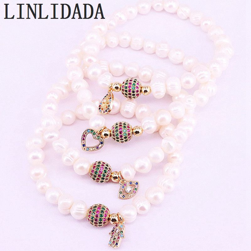 6Pcs Rainbow Zirconia Spacer Connector Beads With Natural White Pearl Beaded Bracelet For Women Fashion Jewelry