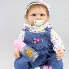 22 Inches Handmade Big Size Baby Reborn Girl Doll Soft Silicone Vinyl Fashion Clothes Lifelike Boneca Reborn Baby Toys For Ks