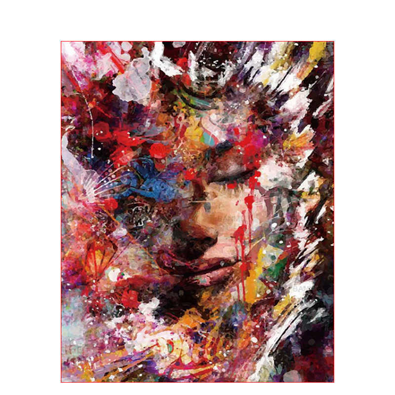 Painting By Numbers DIY Dropshipping 40x50 50x65cm Painted dim face Figure Canvas Wedding Decoration Art picture Gift