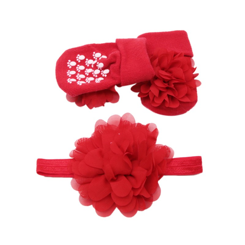 Infant Baby Shoes Cute Lace Floral Cotton Socks With Big Flower Hairband Photography Props Set 0-24M Newborn Gifts 2pcs