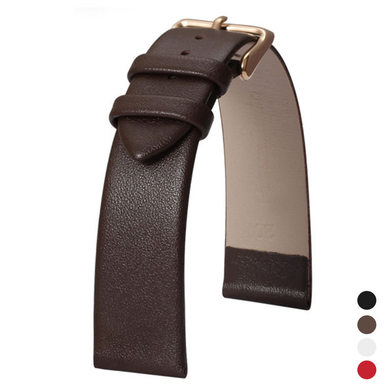 10mm Replaceable Watch Band Black Calfskin Leather Strap Durable Genuine Leather Strap Universal Watchband Watches Accessories imported calfskin leather watch strap