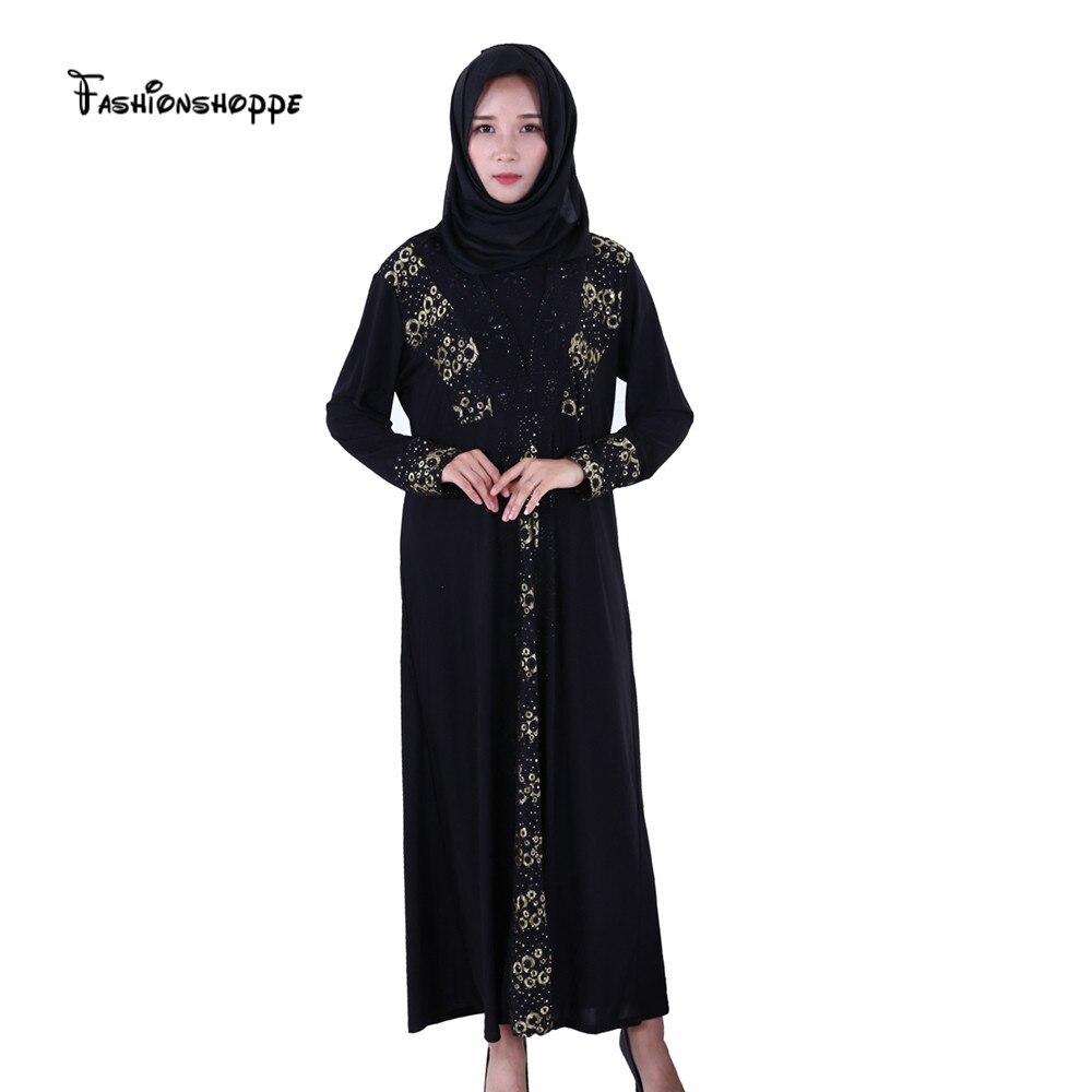 Muslim Women Long Sleeve Black Dubai Dress Maxi Abaya Jalabiya Hitam Arab Gold Fashion Jibab And Robe Musulman Arabe Female Plus Size Islamic