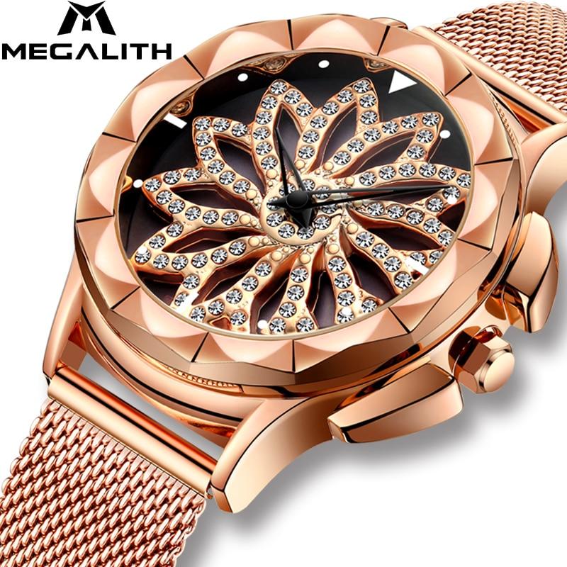 MEGALITH Women Luxury Diamond Watch With Rotating Dial Waterproof Analogue Ladies Quartz Wrist Watch Rose Gold