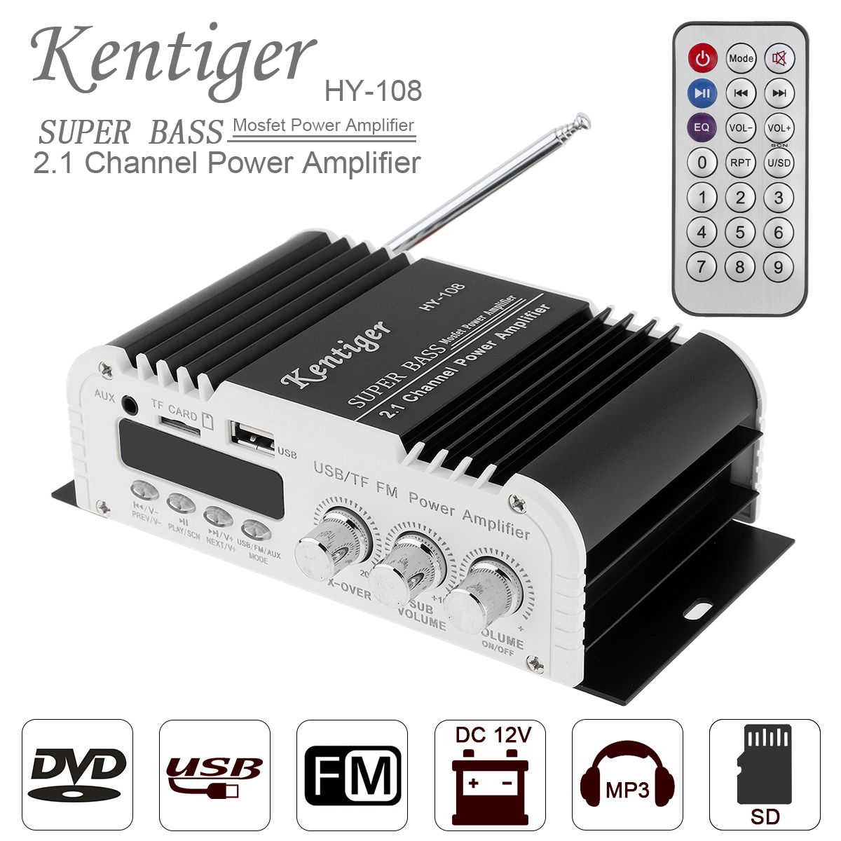 HiFi Stereo USB Digital 2 Ch Output Power Amplifier Audio Speaker AMP for Car or Home Audio System with IR Remote Control and FM Antenna.