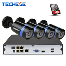 Techege 4CH 48V PoE NVR POE System 2.0MP Onvif PoE IP Camera Waterproof IP66 P2P Remote View XMEye Surveillance CCTV System