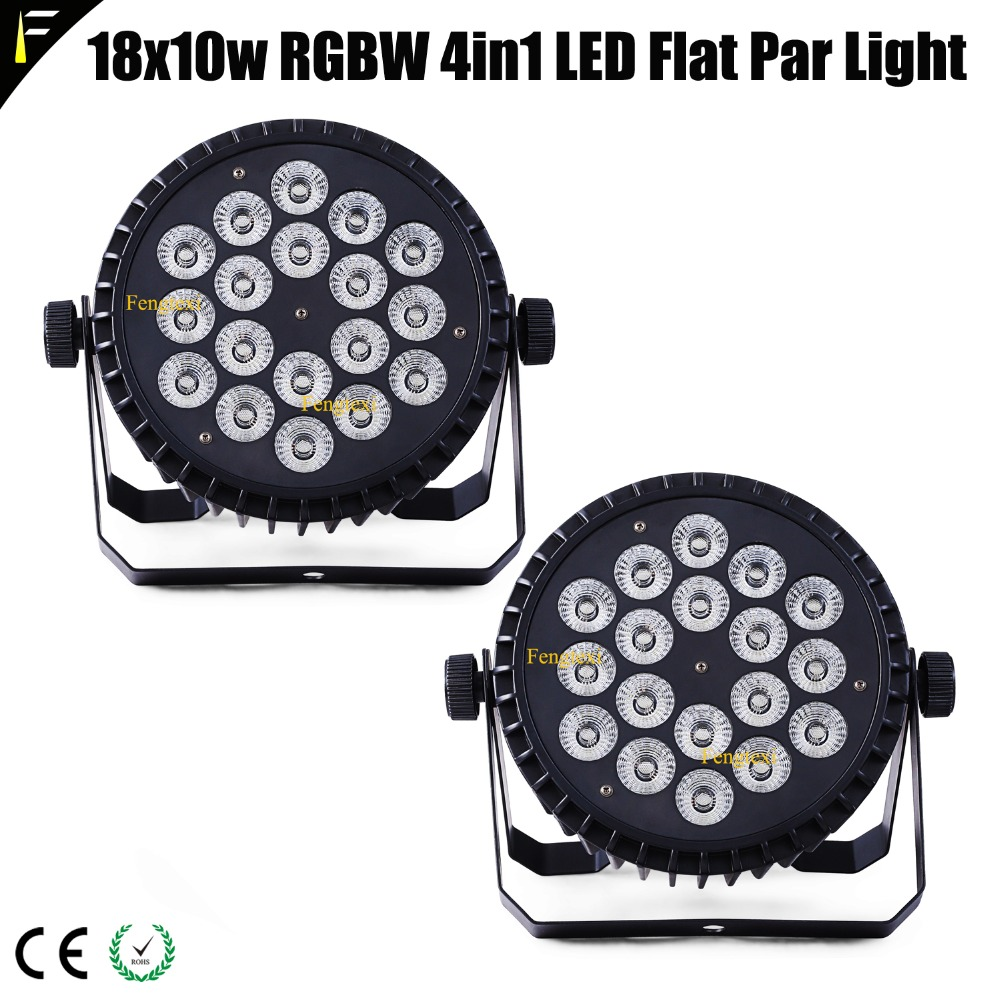 2unit/LOT 18x10w RGBW 4in1 LED Flat Par Can Spot Light Back Ground Staining KTV Party Night Club Disco Lamp Par Can 10w*18LED