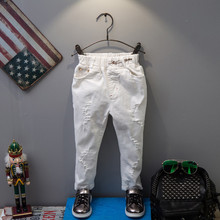 Spring New Brand Korean Style Baby Boys Jeans Pants Fashion Kids Ripped Jeans Boys Soild White Denim Pants Baby Jeans Trousers boys multicolor patched detail jeans