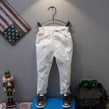 Spring New Brand Korean Style Baby Boys Jeans Pants Fashion Kids Ripped Soild White Denim Trousers
