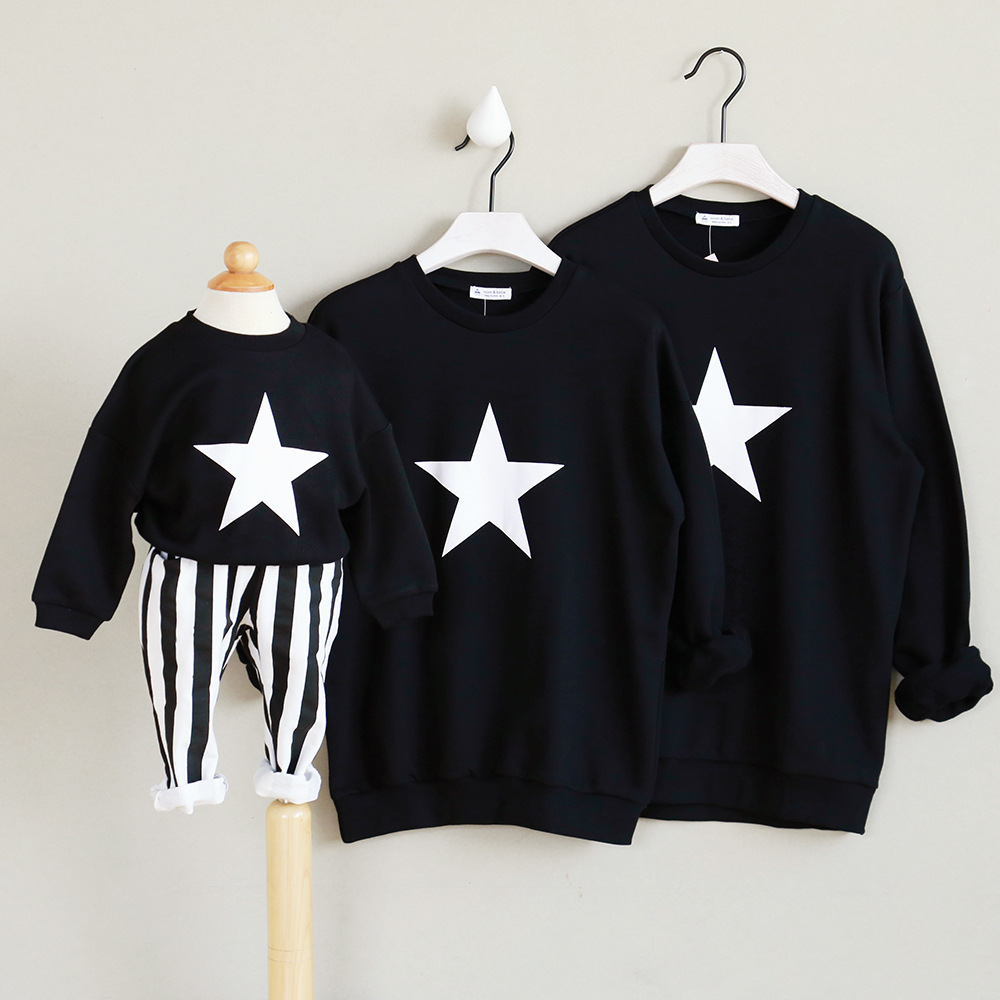 Father Mom Daughter Matching Garments Star Lengthy Sleeve Sweatshirt Matching Garments Household Cotton Outfits Father Mom Son mom son, father mom son, mom daughter matching garments,Low-cost mom son,Excessive High...