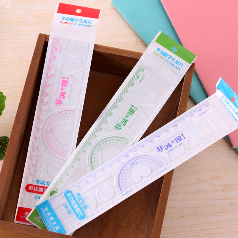 DIY Cute Kawaii Candy Color Plastic Ruler For Kids Painting Drawing Template Straight Rule School Supplies Student Stationery