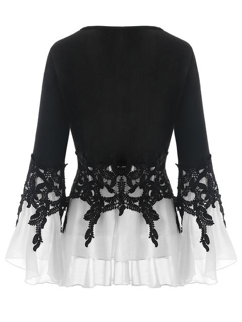 PlusMiss Plus Size 5XL Sexy Bell Flare Sleeve Chiffon Tunic Tops Lace Crochet Peplum Blouse Women Clothing Big Size Autumn 2018 1