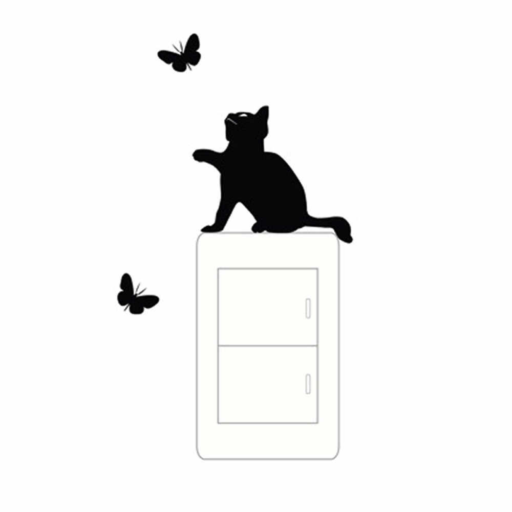 Bricolage drôle mignon chat interrupteur autocollants Stickers muraux Stickers décoration de la maison chambre salon salon décoration chambre fenêtre mur