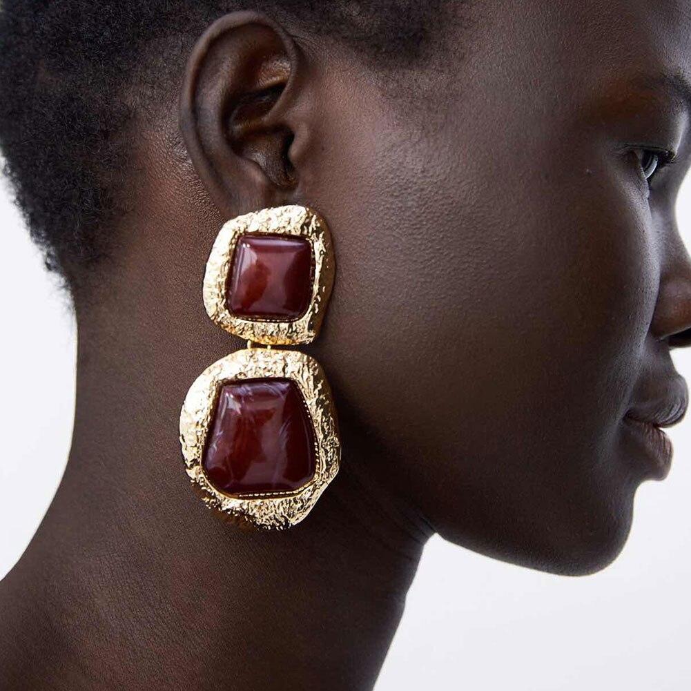 Flatfoosie New 2018 Fashion Brand Jewelry Za Bohemian Drop Dangle Earrings for Women Geometric Punk Style Earrings Accessories