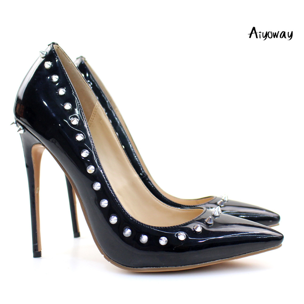 Aiyoway Women Shoes Ladies Pointed Toe High Heel Pumps Rivet Stiletto Black Studs Slip On