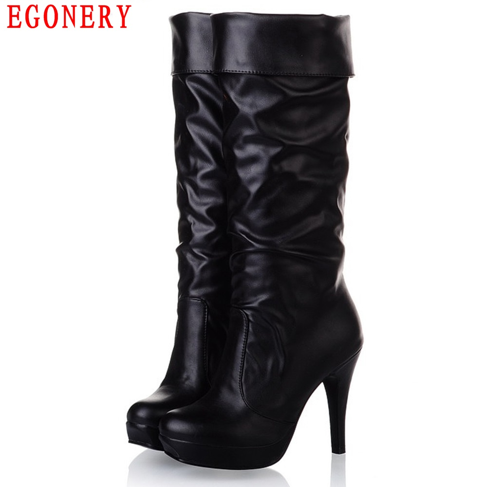 EGONERY Thin High Heel Platform Fold Soft PU Faux Leather Slip On Spring Autumn Fashion Style Womens Knee High Boots low price plastic spare parts mould for auto products