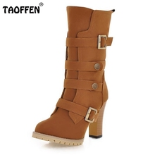 TAOFFEN Women Shoes Women Boots Middle Calf Winter Shoes Zipper Short Plush High Heeled Squared Heels Fashion Boots Size 33-43
