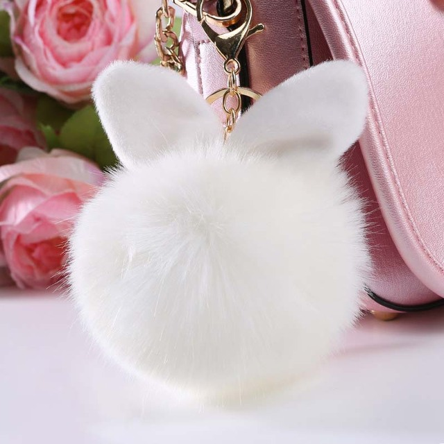 Hot Women Cute Soft Artificial Rabbit Fur Ear Pom Pom Keychain Bag Keyring  Accessories 773dad1d28ed