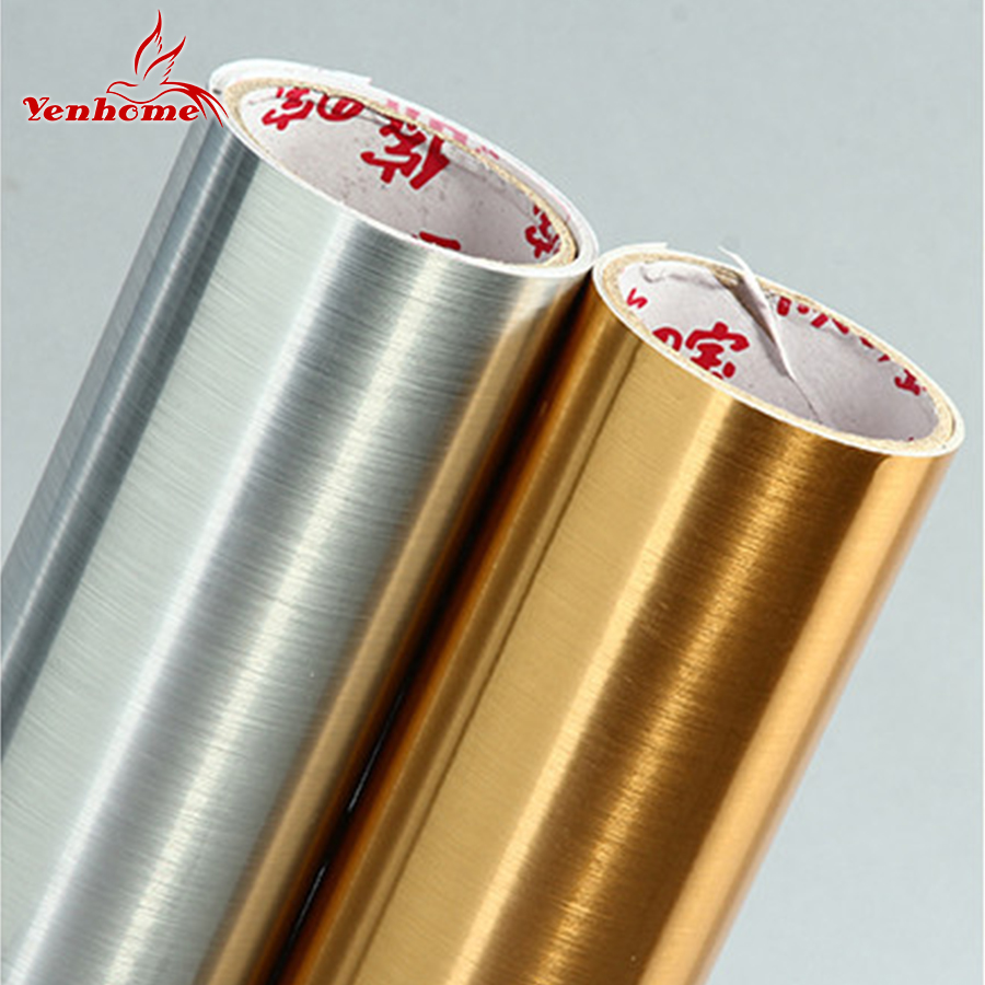 Waterproof glitter PVC wall stickers silver gold brush self adhesive wallpaper countertop <font><b>kitchen</b></font> cabinet home decoration film