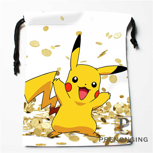 Custom Pikachu Drawstring Bags Printing Fashion Travel Storage Mini Pouch Swim Hiking Toy Bag Size 18x22cm #171203@1-07
