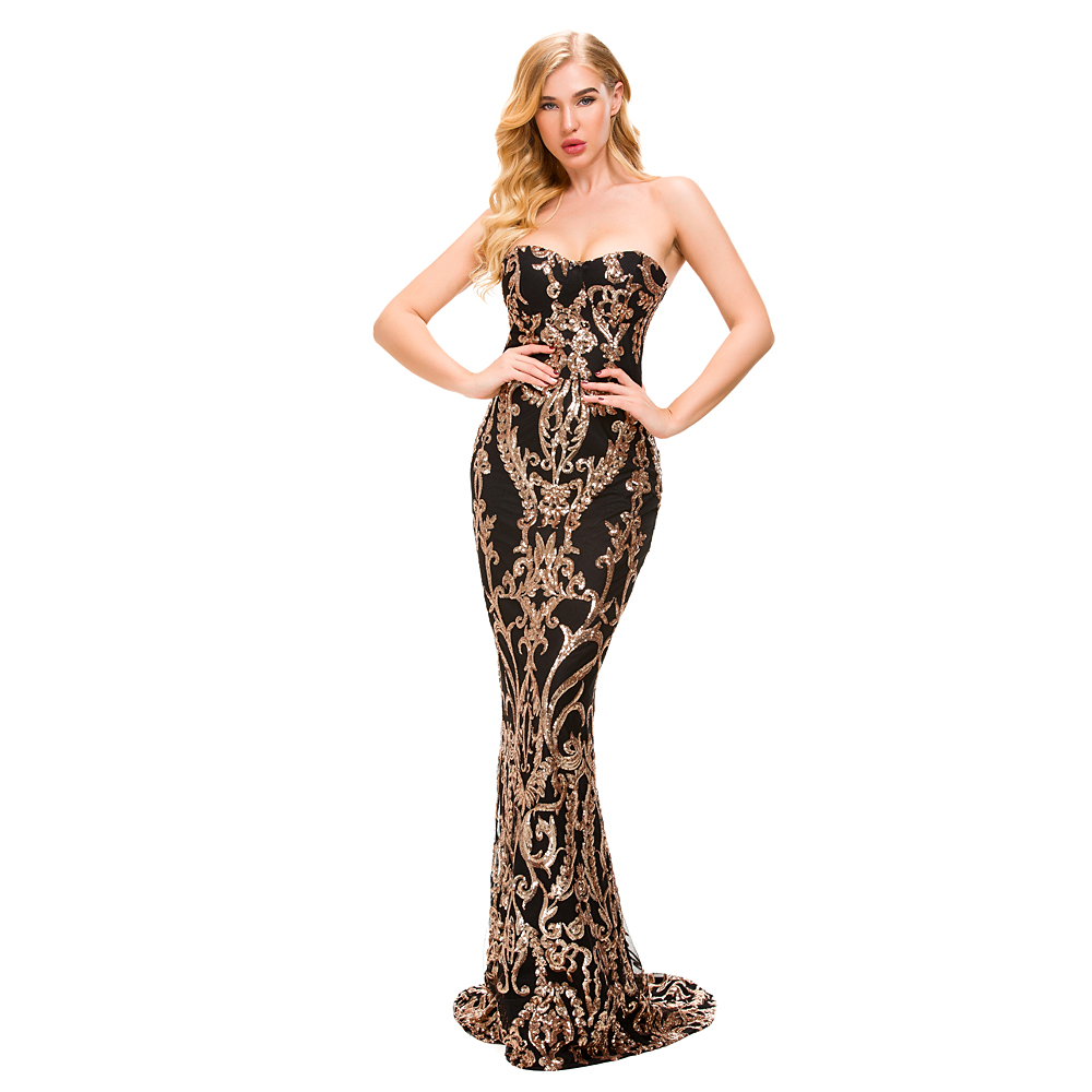 Gold Sequined Strapless Maxi Dresses Sexy Party Dress Backless Strapless Bodycon Stretchy Evening Mermaid Dress